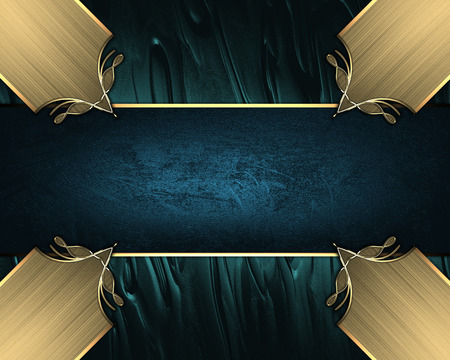 inlays: Abstract blue background with gold inlays of gold and blue ribbon. Design template. Design site