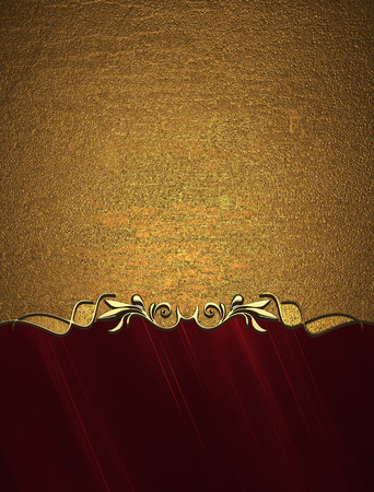 Grunge gold background with red bottom. Design template. Design site