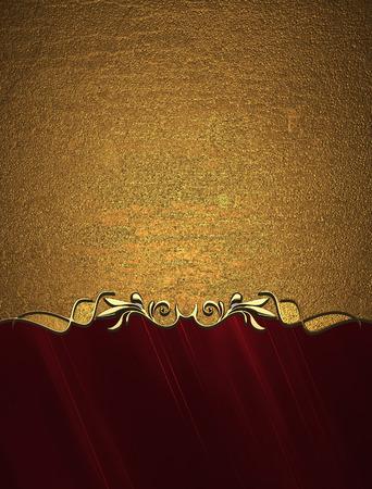 bronze background: Grunge gold background with red bottom. Design template. Design site