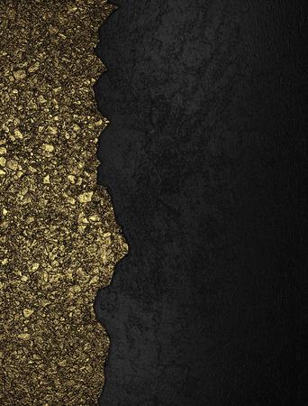 Black grunge background with golden torn edge
