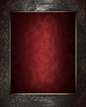 Metal texture with red frame in gold finish