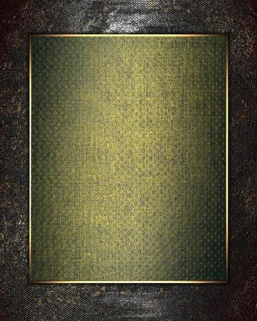 green sign: Struttura del metallo con il segno verde in finitura oro. Modello di disegno