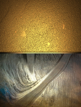 gold metal: Gold grunge texture with metal plate. Template Stock Photo