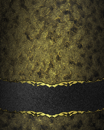 scuffed: Dark texture with gold scuffed with black velvet band. Design template. Design site