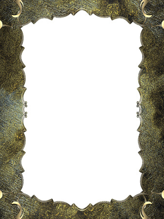FANCY BORDER: Abstract grunge frame with gold border. Design template. Design site