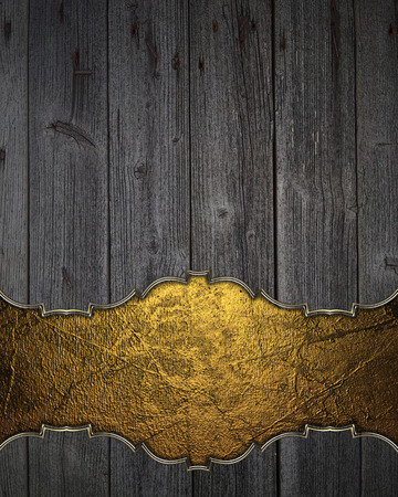 space for writing: Wooden texture with gold space for writing. Template Design.