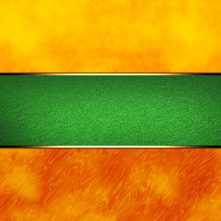 nameplate: Colorful orange abstract background with green nameplate with gold trim