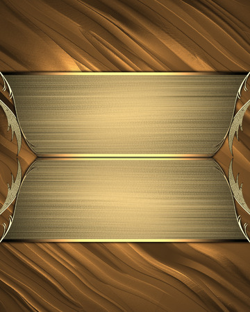 nameplate: Gold background with gold nameplate. Design template. Design site