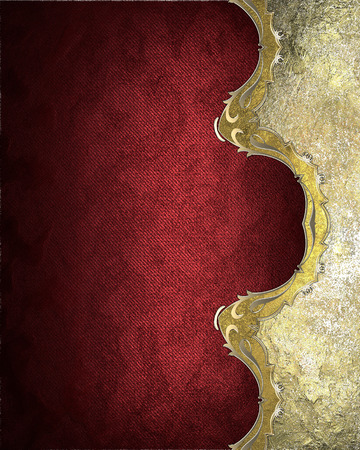 velvety: Element for design. Template for design. Velvety red background with a gold edge antiques