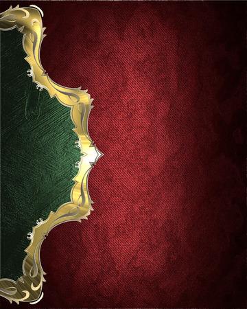 velvet texture: Elemento di design. Velluto rosso trama con bordo verde con finiture in oro Archivio Fotografico