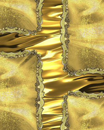 inserts: Element for design. Template for design. golden background with gold inserts Stock Photo