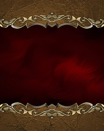Element for design. Template for design. Grunge frame with gold pattern on red background Stock Photo
