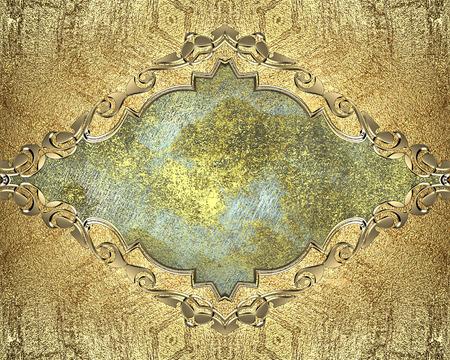 cadre antique: Element for design. Mod�le pour la conception. Antique frame avec motif d'or sur un fond bleu Banque d'images