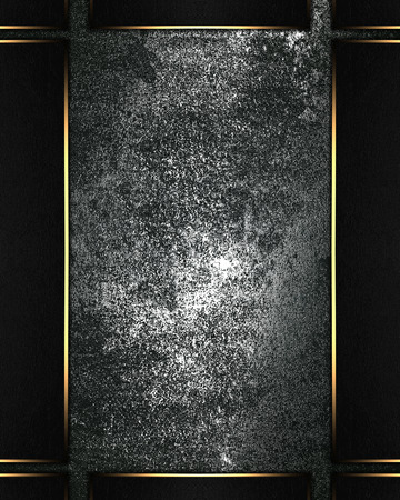 metall: Metall shabby background with black frame with gold edges Stock Photo