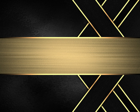 Element for design. Template for design. Black background with gold lines and nameplate Stock Photo