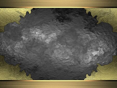 torn edges: Metal texture with torn edges and gold frame. Design template. Design site Stock Photo
