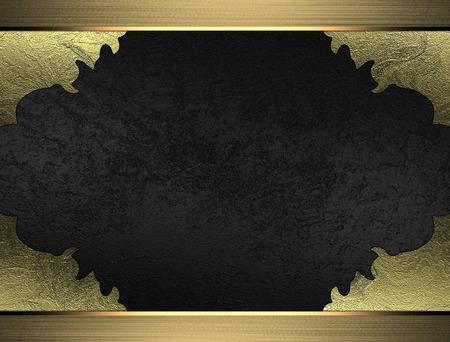 torn edges: Black velvet texture with torn edges and gold frame. Design template. Design site Stock Photo