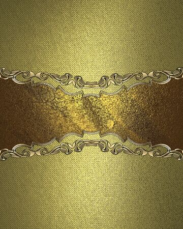 Grunge gold background with gold nameplate and decorative trim. Design template. Design site