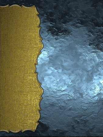 Abstract blue background with gold edge. Element for design. Template for design. Abstract grunge background. Stock Photo