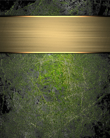 Grunge green background (texture) with gold nameplate. Element for design. Template for design. Abstract grunge background. Stock Photo