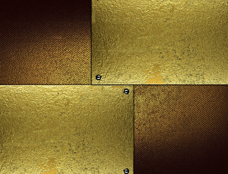 inserts: Grunge brown background with gold inserts. Element for design. Template for design.