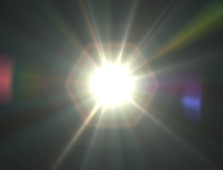 gaze: Design template - White Star, sun with lens flare. Rays background.