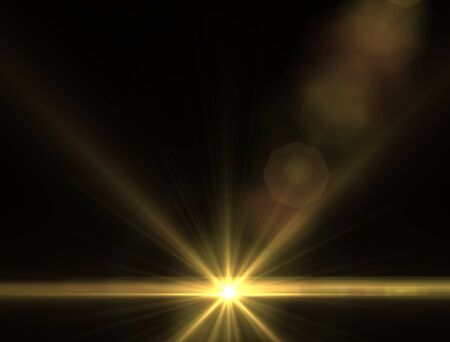 trek: Design template - Yellow Star, sun with lens flare. Rays background.