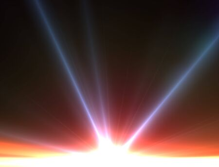 trek: Design template - Star, sun with lens flare. Rays background. Red and blue star Stock Photo