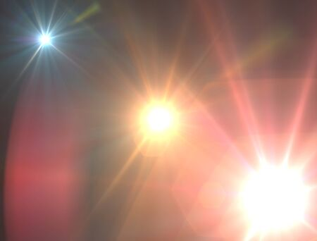 stare: Design template - Three Star, sun with lens flare. Rays background.