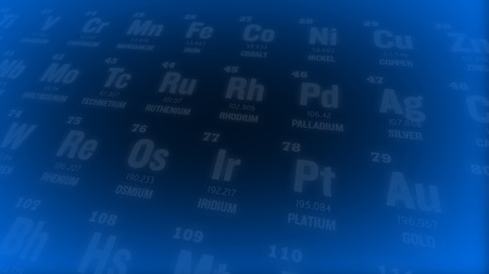 isotope: Periodic table of elements. Selective focus.