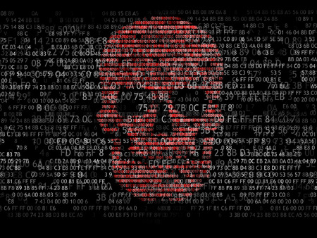 binary: Concept of computer security. The skull of the hexadecimal code. Pirate online. Cyber criminals. Hackers cracked the code