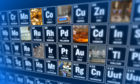 laboratory tools: Periodic table of elements and laboratory tools. Science concept.