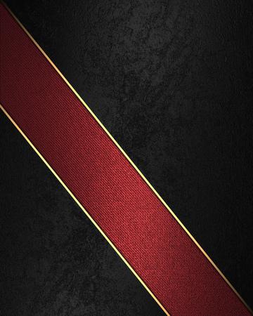 velvet texture: Black velvet texture with red ribbon. Element for design. Template for design. Stock Photo