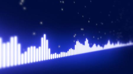 vibrations: Audio equalizer bars moving. Music control levels. Blue.