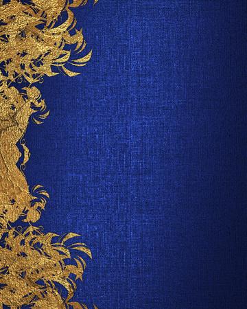 골드 꽃과 파란색 배경입니다. 디자인 요소입니다. 디자인 템플릿입니다. 광고 브로셔 또는 발표 초대, 추상적 인 배경 복사 공간. 스톡 콘텐츠