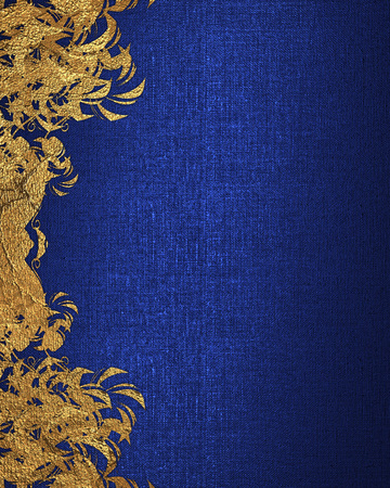 Blue background with gold flowers. Element for design. Template for design. copy space for ad brochure or announcement invitation, abstract background.