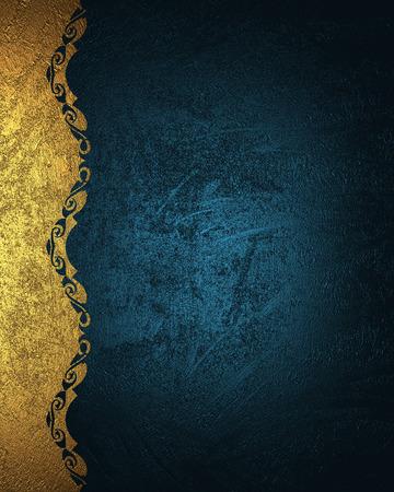 Fondo azul del grunge con el patrón de oro. Elemento para el diseño. Plantilla para diseño. copie el espacio para el folleto del anuncio o la invitación del aviso, fondo abstracto.