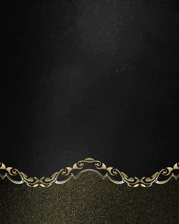 Grunge black nameplate with gold edges. Element for design. Template for design. copy space for ad brochure or announcement invitation, abstract background.