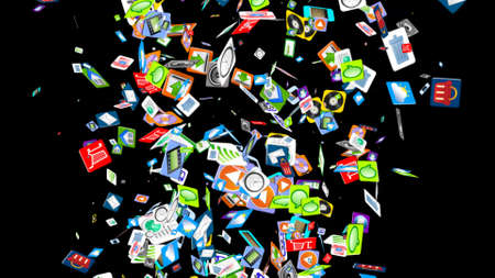 application icons: Background from a variety of mobile application icons Stock Photo
