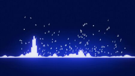vibrations: Audio equalizer bars moving. Music control levels. Musical notes departing from the equalizer