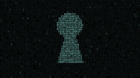 empty keyhole: Security concept: hex code and binary code in the keyhole. cybersecurity Stock Photo