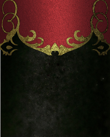 velvet texture: Black velvet texture with red antique pattern. Element for design. Template for design. copy space for ad brochure or announcement invitation, abstract background. Stock Photo