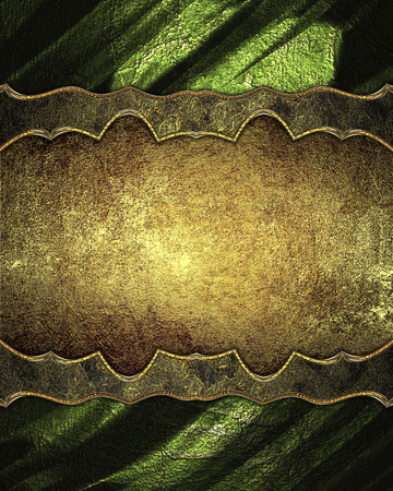 ad space: Golden decoration with green texture. Template for design. copy space for ad brochure or announcement invitation, abstract background.