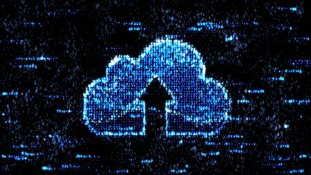 storage: Cloud storage and computer code. Blue computer hex code