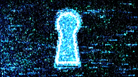 Security concept: hex code and binary code in the keyhole. cybersecurity Archivio Fotografico