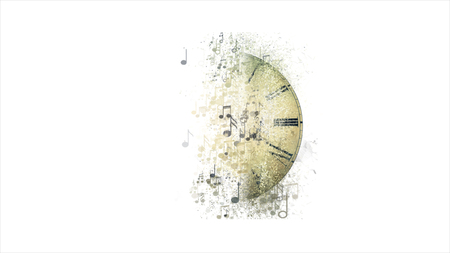 mozart: Musical clock. Abstract musical background