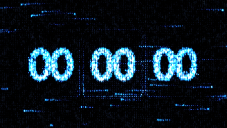 Zero countdown. The countdown on the computer screen. Clocks are set at 00:00 starting a new countdown. Stock Photo