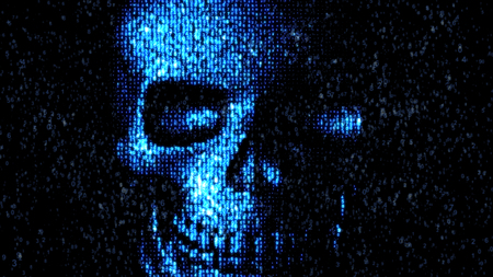 Danger in the Internet. Malicious code hacker. Skull Stock Photo