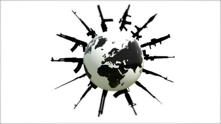 Hot spots on the world map. Land on guard. War on the planet. Stock Photo