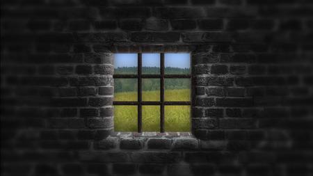 El concepto de privación de libertad. Detrás del Muro una hermosa vida. Foto de archivo - 75466982